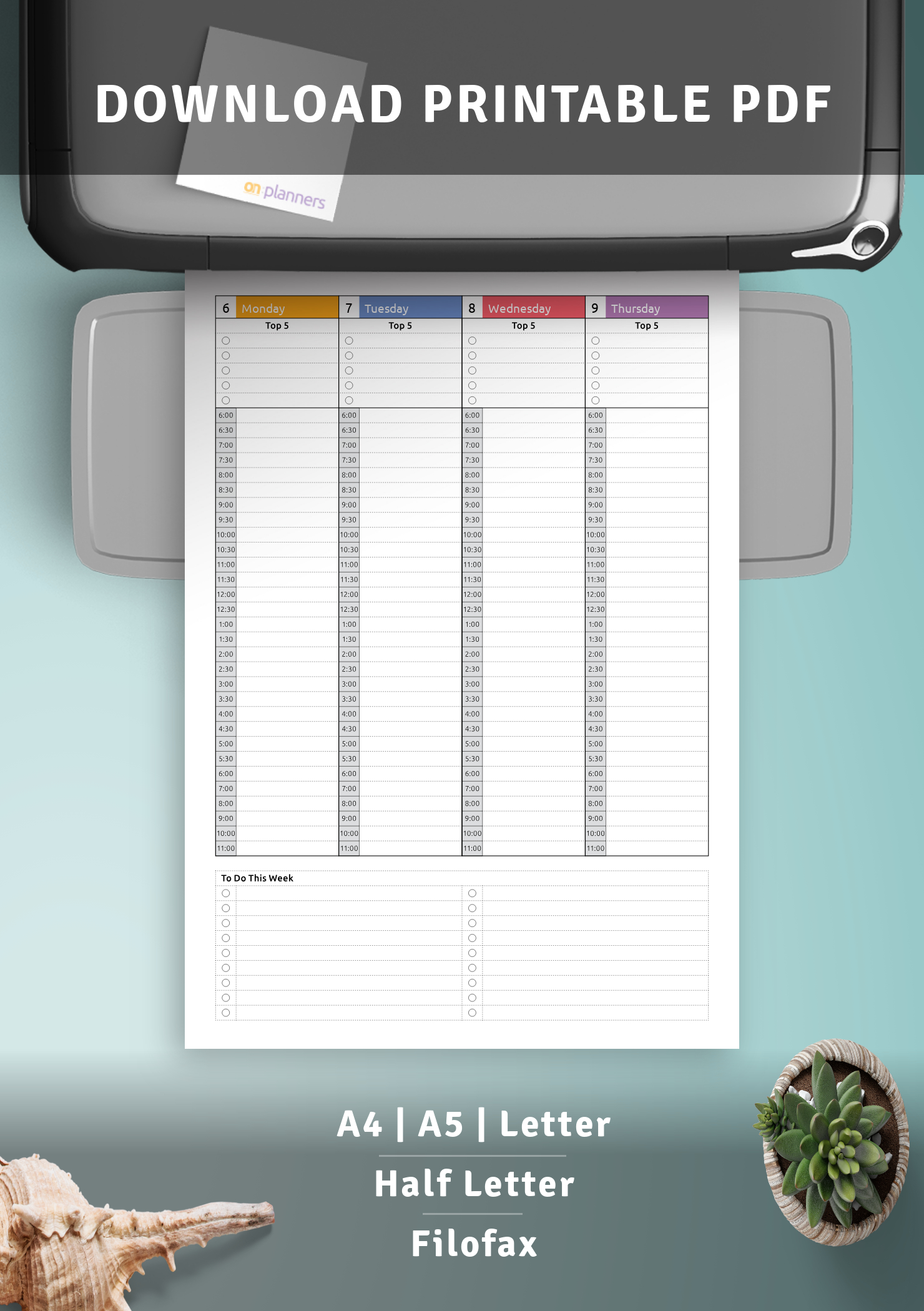 Download Printable Colored Weekly Hourly Planner Dated Pdf pertaining to Hourly Planner Pdf