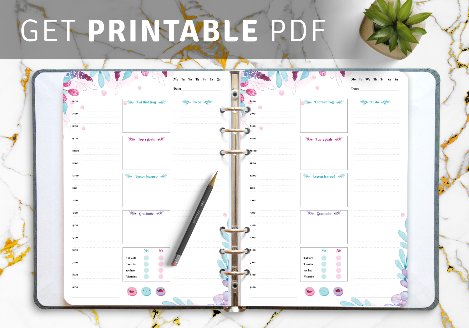 Download Printable Flowered Daily Hourly Planner Pdf intended for Hourly Planner Pdf
