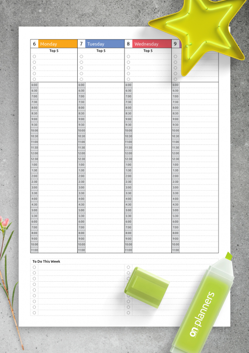 Download Printable Hourly Planner With Daily Tasks & Goals Pdf for Hourly Planner Pdf