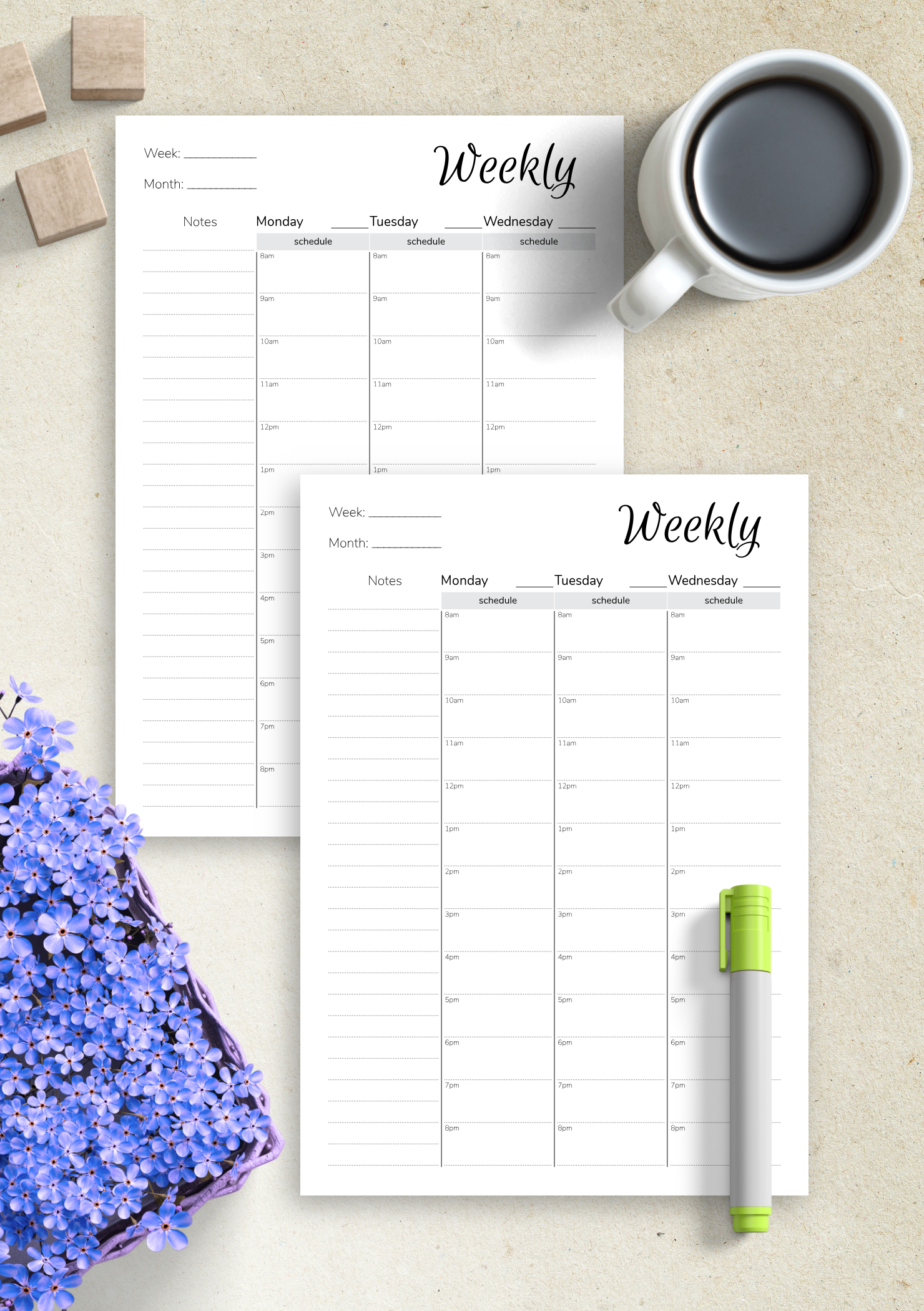 Download Printable Weekly Hourly Planner With Notes with regard to Hourly Planner Pdf