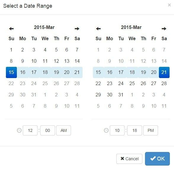 Easy Sliding Date Range Picker Directive For Angualrjs with Calendar Date Range Picker Android