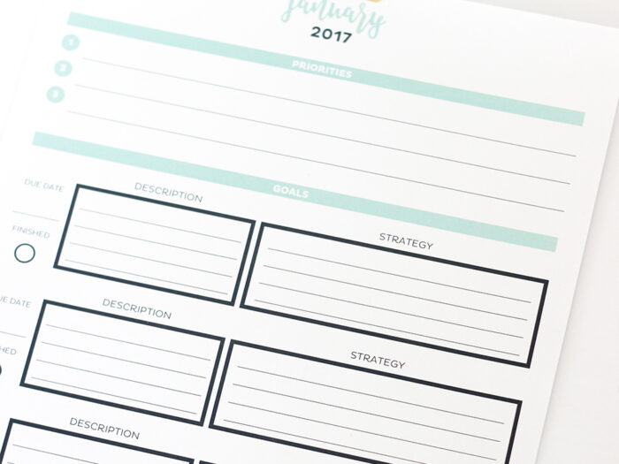 Editable 2017 Simple Monthly Calendar And Goal Tracker for Most Goals In A Calendar Year