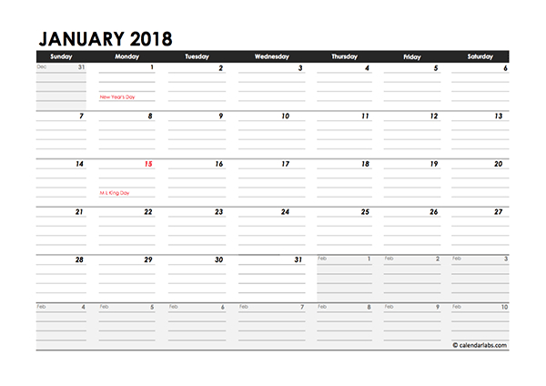 Editable 2018 Monthly Calendar Excel Template  Free in Excel Quarterly Calendar Template