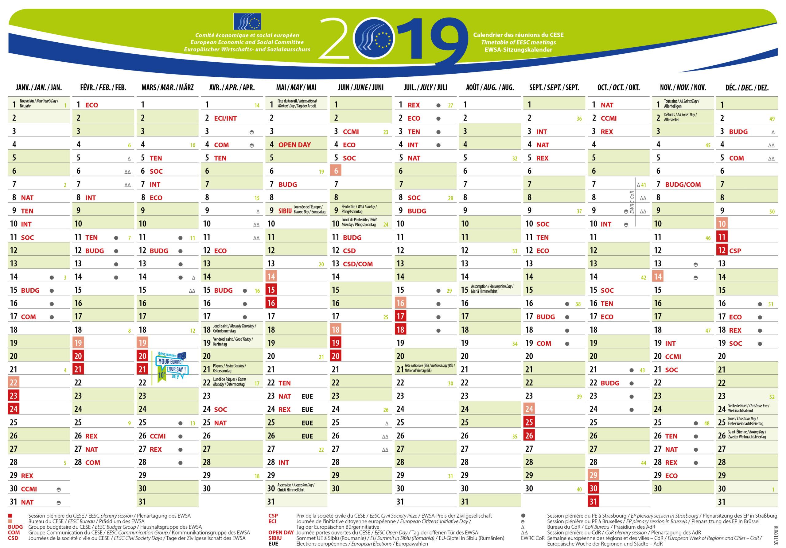Eesc Meetings Calendar 2019 | European Economic And Social within Financial Calendar 2021/21 Excel