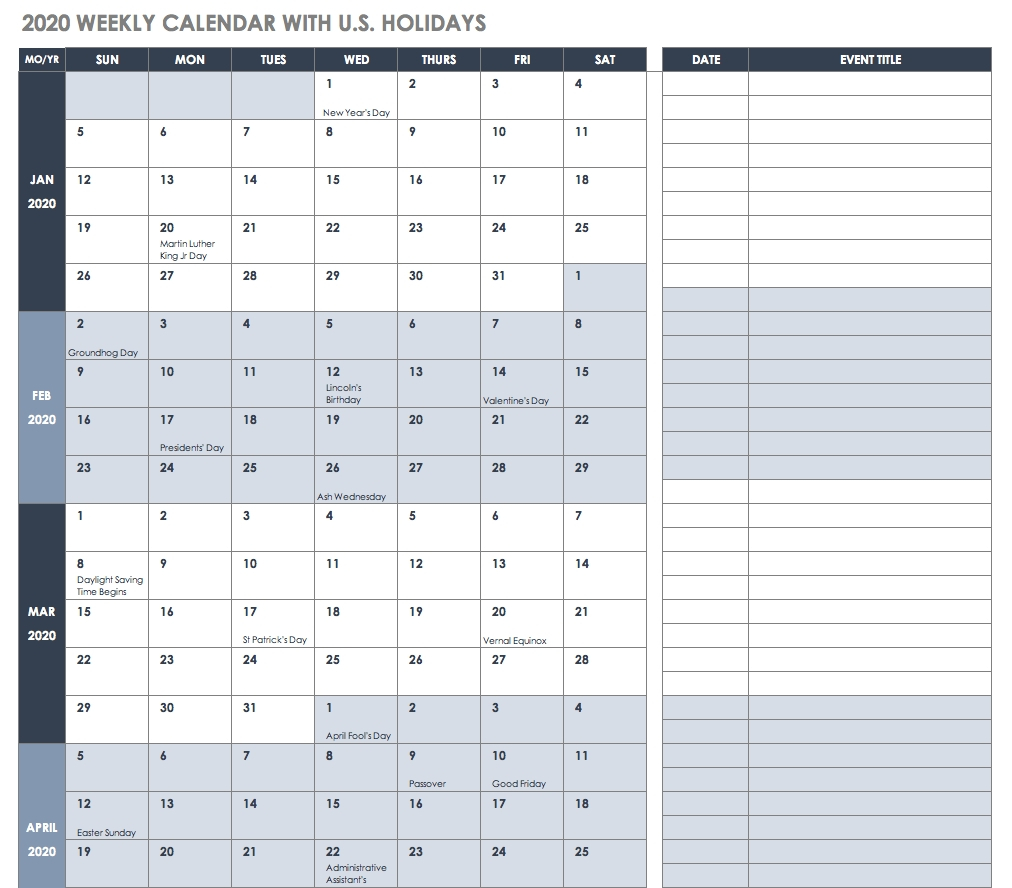 Employee Vacation Calendar Template 2020 | Calendar within Employee Vacation Calendar Excel