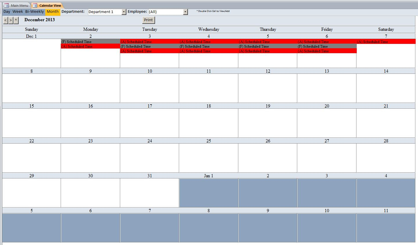 Employee Vacation Tracking Database Template | Employee with regard to Vacation Tracking Calendar