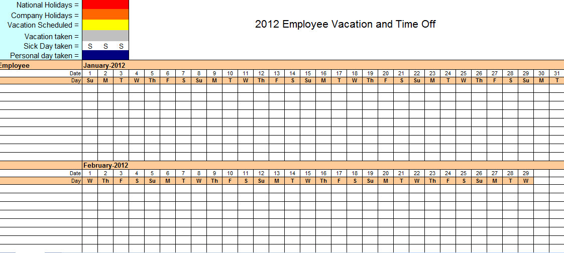 Employee Vacation Tracking  Emmamcintyrephotography with Time And Action Calendar Excel