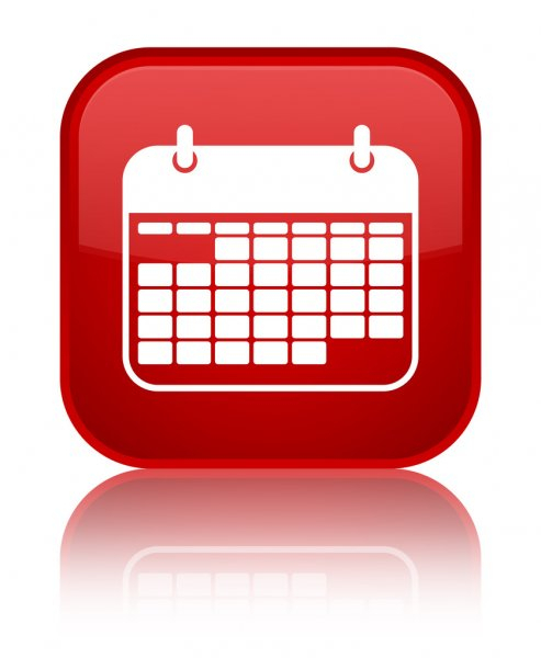 Events (Calendar Icon) Red Square Button — Stock Photo pertaining to Calendar Icon Red