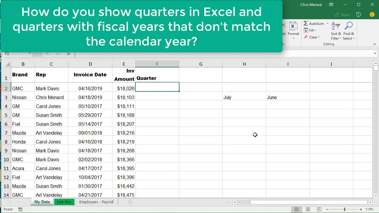 Excel Choose & Month Function For Quarters Where Fiscal in Financial Calendar 2021/21 Excel