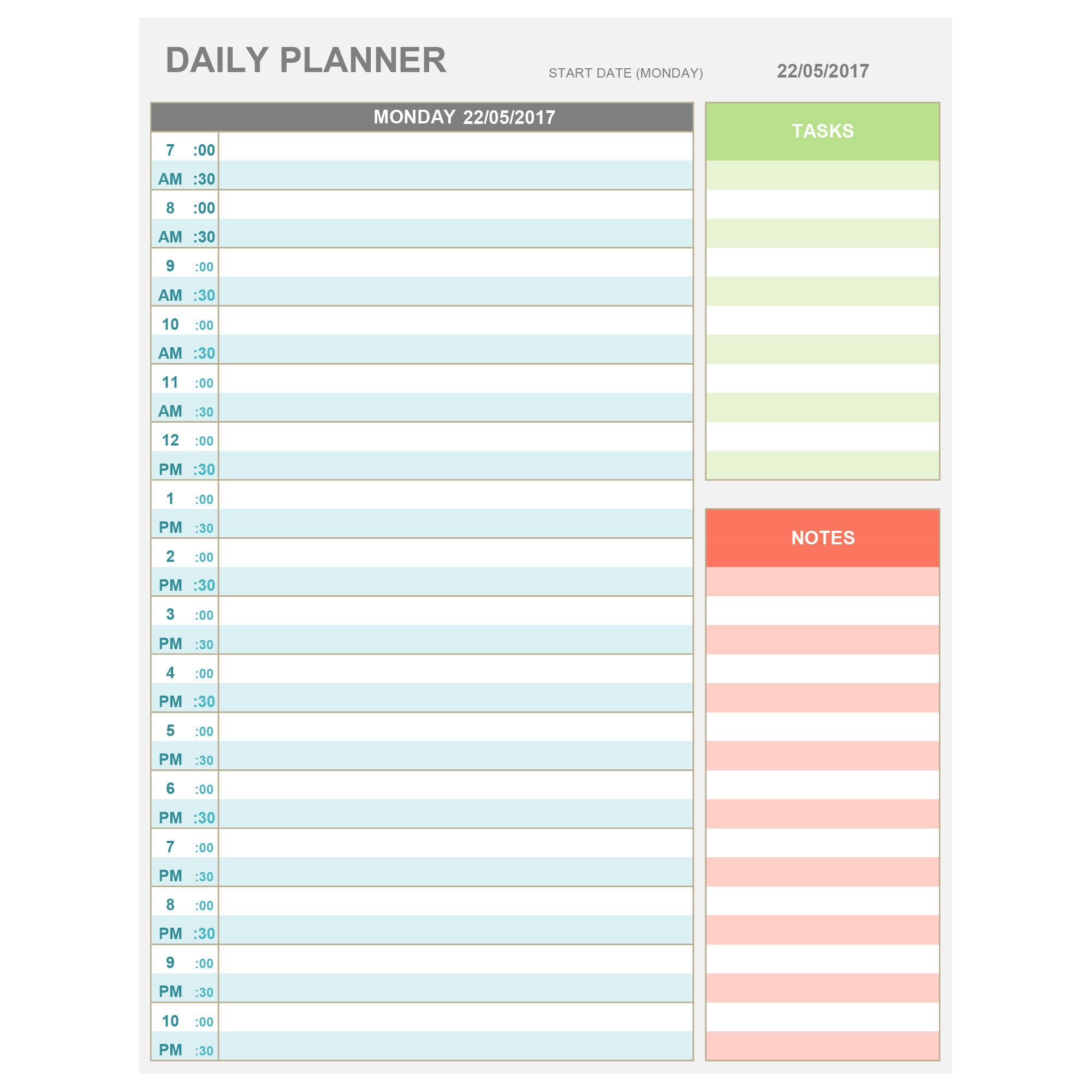 Excel Daily Hourly Planner Printable & Editable. Daily | Etsy for Free Daily Calendar Template