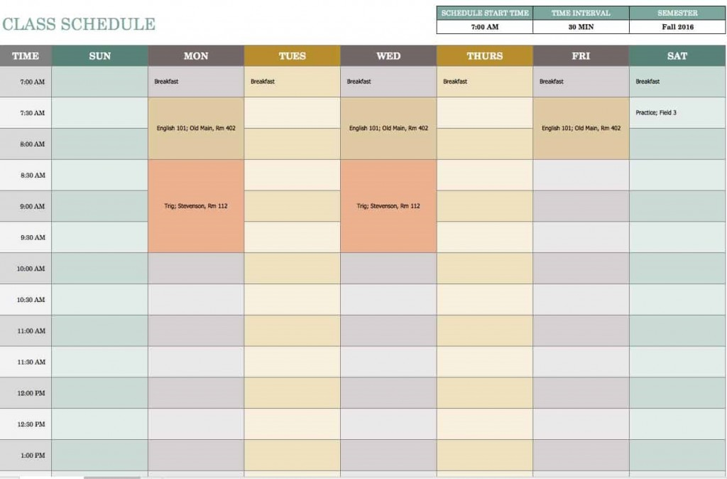 Excel Weekly Calendar Template ~ Addictionary for Excel Week Calendar Template