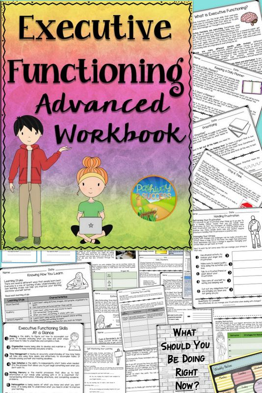 Executive Functioning Advanced Workbook | Special for Executive Functioning Activity Worksheets