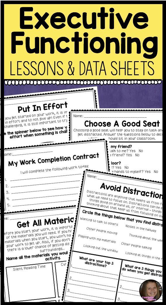 Executive Functioning Lessons   Executive Functioning with Executive Functioning Activity Worksheets