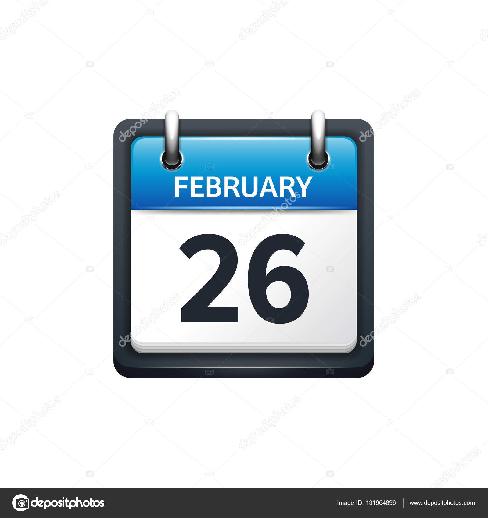 February 26. Calendar Icon.vector Illustration,Flat Style with Glyphicon-Calendar Icon Not Showing