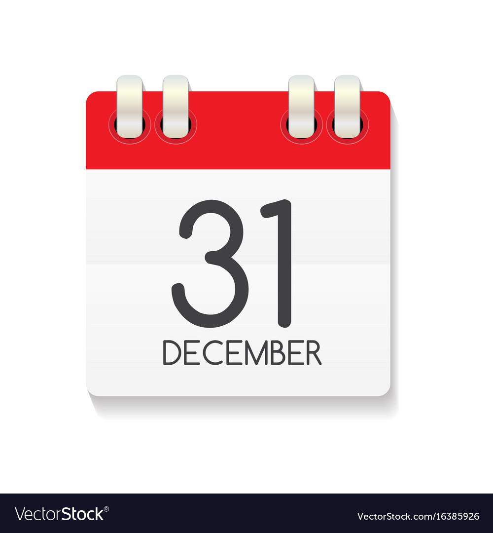 Flat Calendar Icon Of 31 December Royalty Free Vector Image regarding Google Calendar Icon Vector