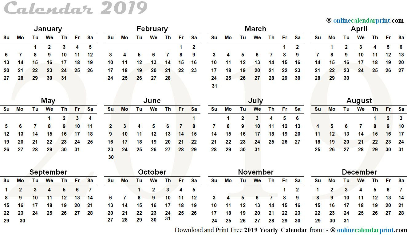 Free 2019 12 Months Calendar In One Page Portrait | 12 intended for Calendar Template 12 Months One Page