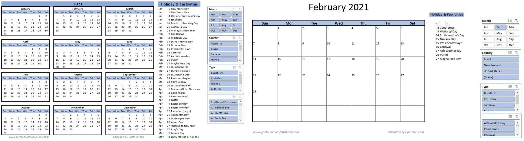 Free 2021 Calendar Template In Excel  Gpetrium within Important Awarness Dates 2021 Australia