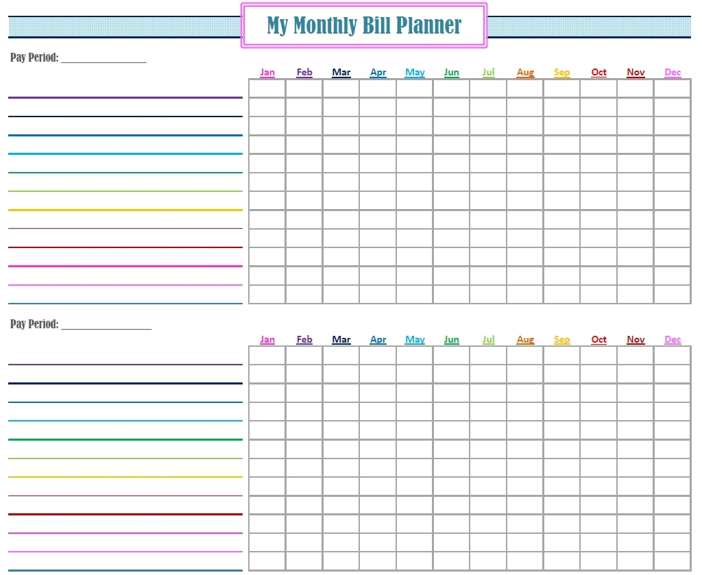 Free Bill Organizer Printable Sheets  Calendar for Bill Organizer Printable Free