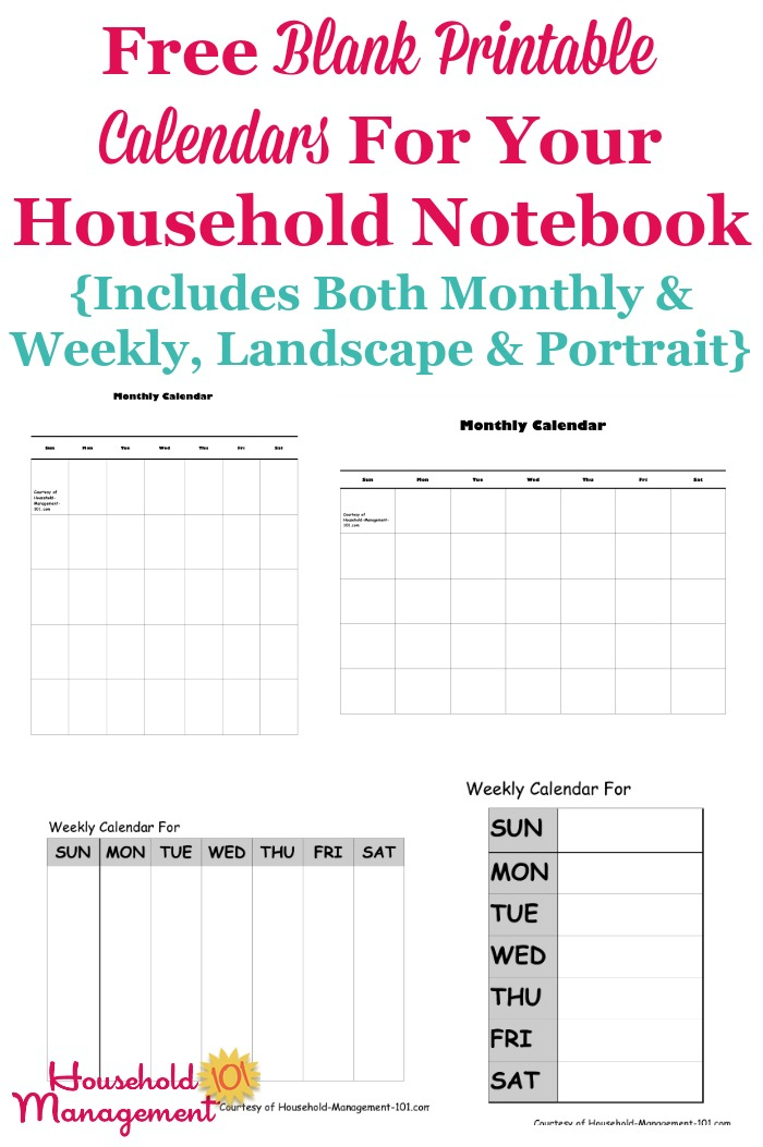 Free Blank Printable Calendars For Your Household Notebook throughout Calendar To Fill In