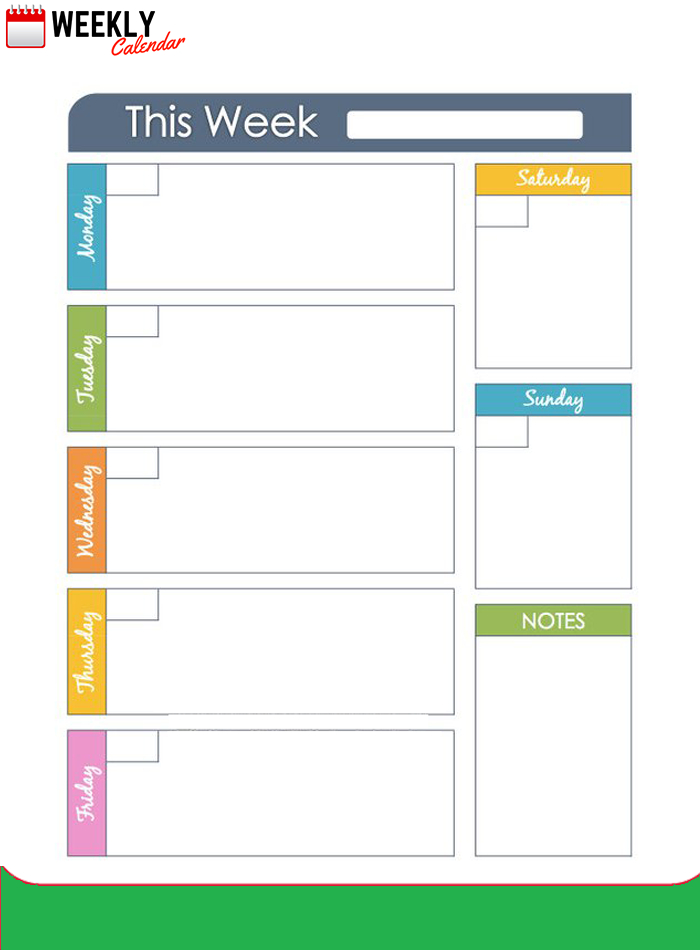 Free Blank Printable Weekly Calendar 2019 Template In Pdf throughout One Week Calendar Template Excel