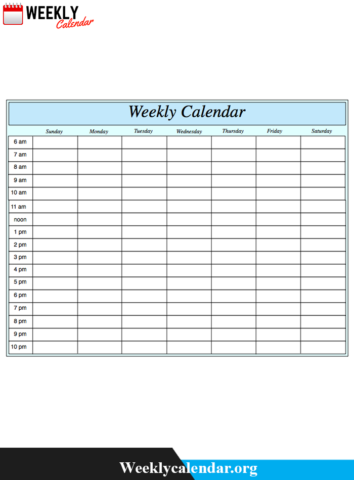 Free Blank Printable Weekly Calendar 2020 Template In Pdf intended for Weekly Calendar With Time Slots Printable Free
