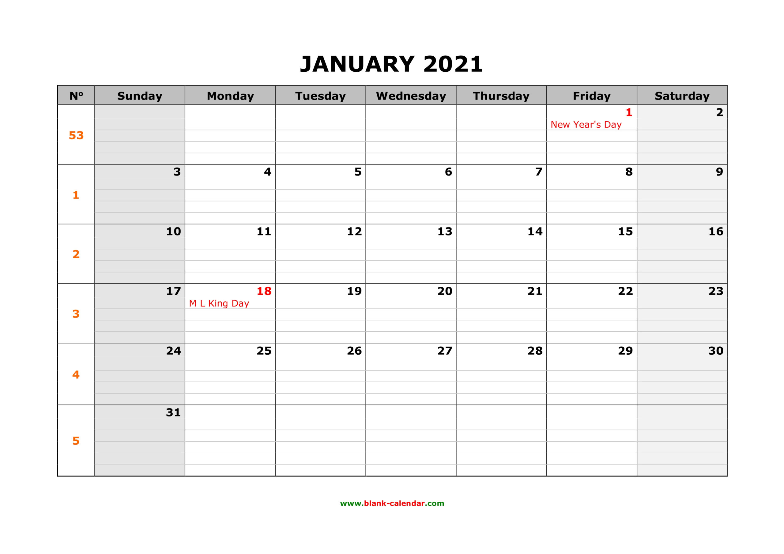 Free Download Printable Calendar 2021, Large Box Grid in Free Printable Monthly Calendar Pages With Lines