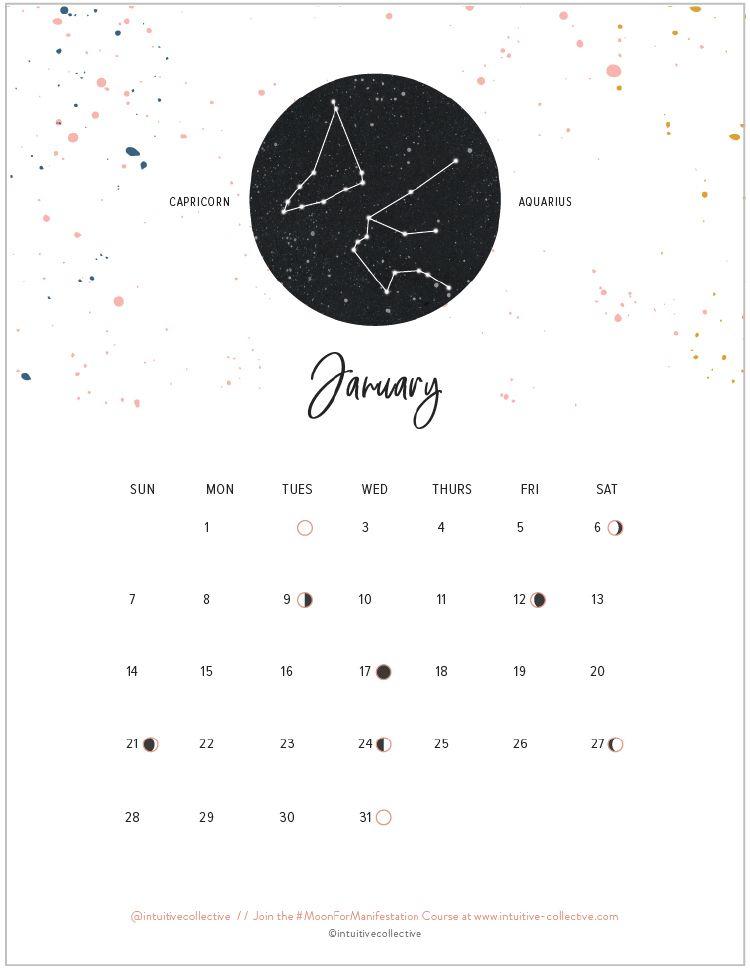 Free Full 2018 Printable Calendar  Moon Phases & Zodiac pertaining to Lunar Calendar For Cockfighting 2018