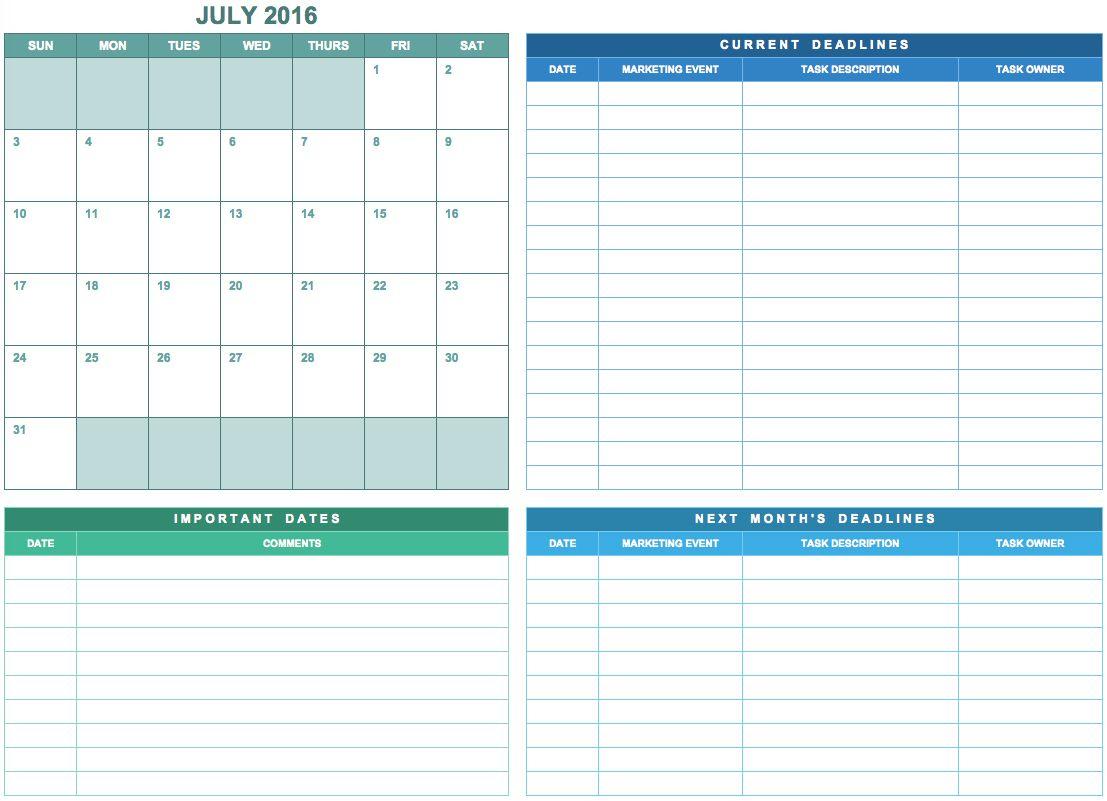Free Marketing Calendar Templates In Google, Excel, And throughout Google Excel Calendar Template