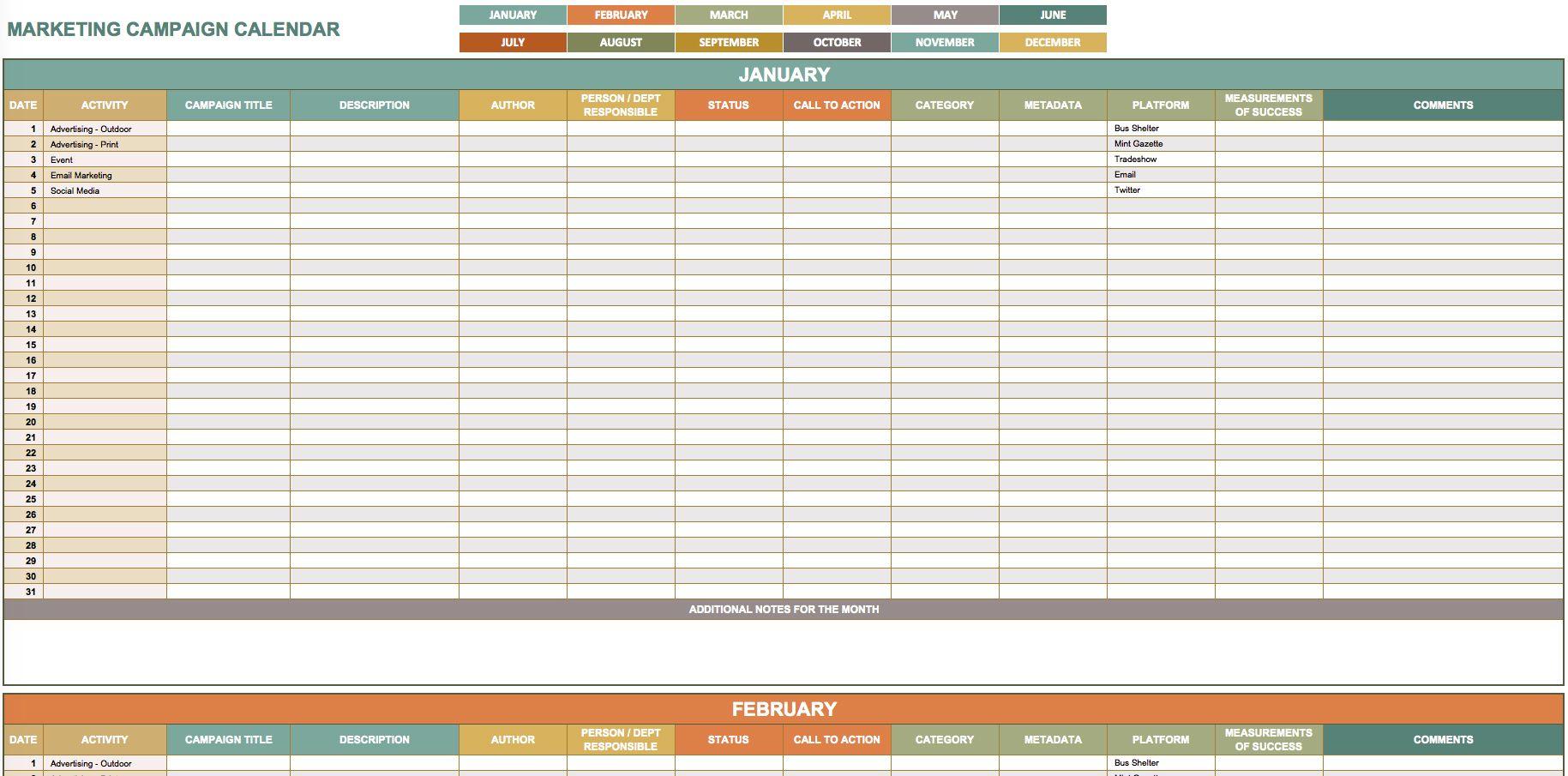 Free Marketing Calendar Templates In Google, Excel, And within Google Excel Calendar Template