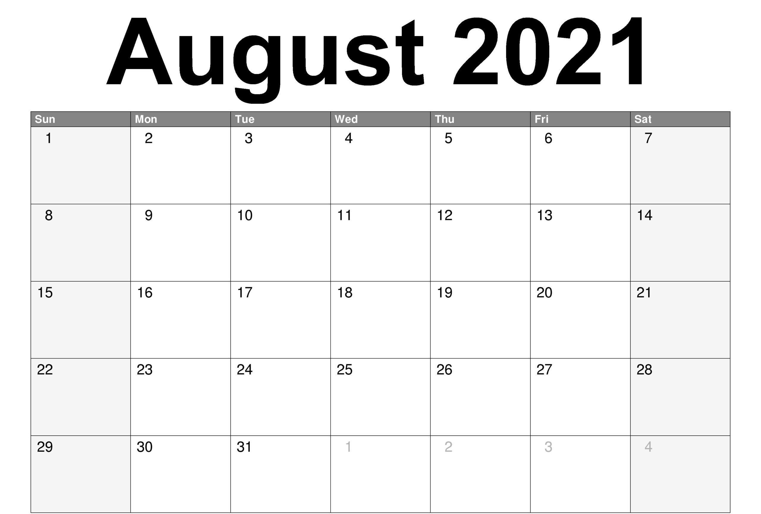 Free Monthly 2021 Printable Calendar Template with Free Calendar Template August 2021