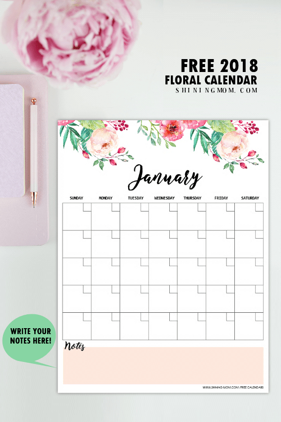 Free Printable 2018 Monthly Calendar And Planner! in Blank Instagram Template 2018
