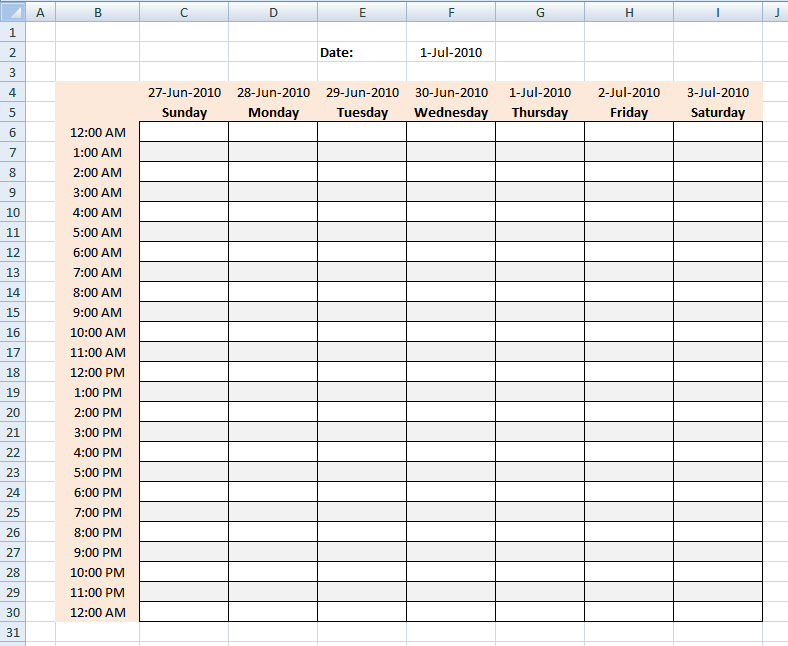 Free Printable Blank Charts | Of Healthcare And Personal pertaining to Weekly Hourly Planner Free Printable