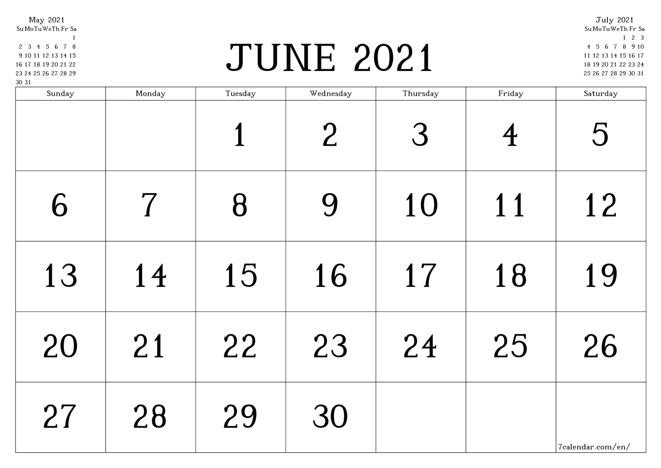 Free Printable Blank Monthly Calendar And Planner For June within 3 Month Printed A3 Calendar 2021