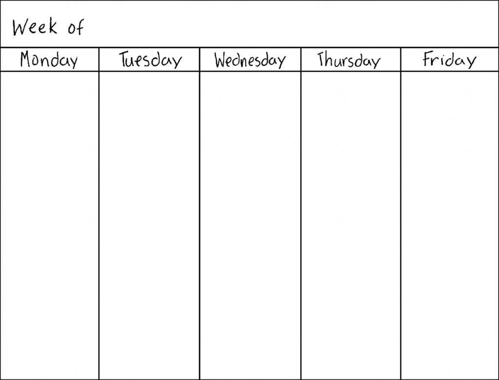 Free Printable Calendar 5 Day Week | Ten Free Printable within 5 Day Week Calendar Template