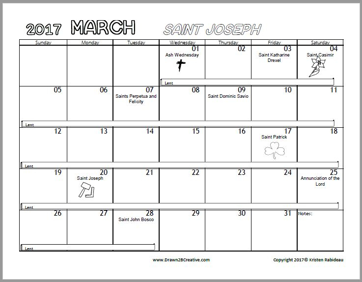 Free Printable Catholic Coloring Calendar 2017 throughout Printable Catholic Liturgical Calendar