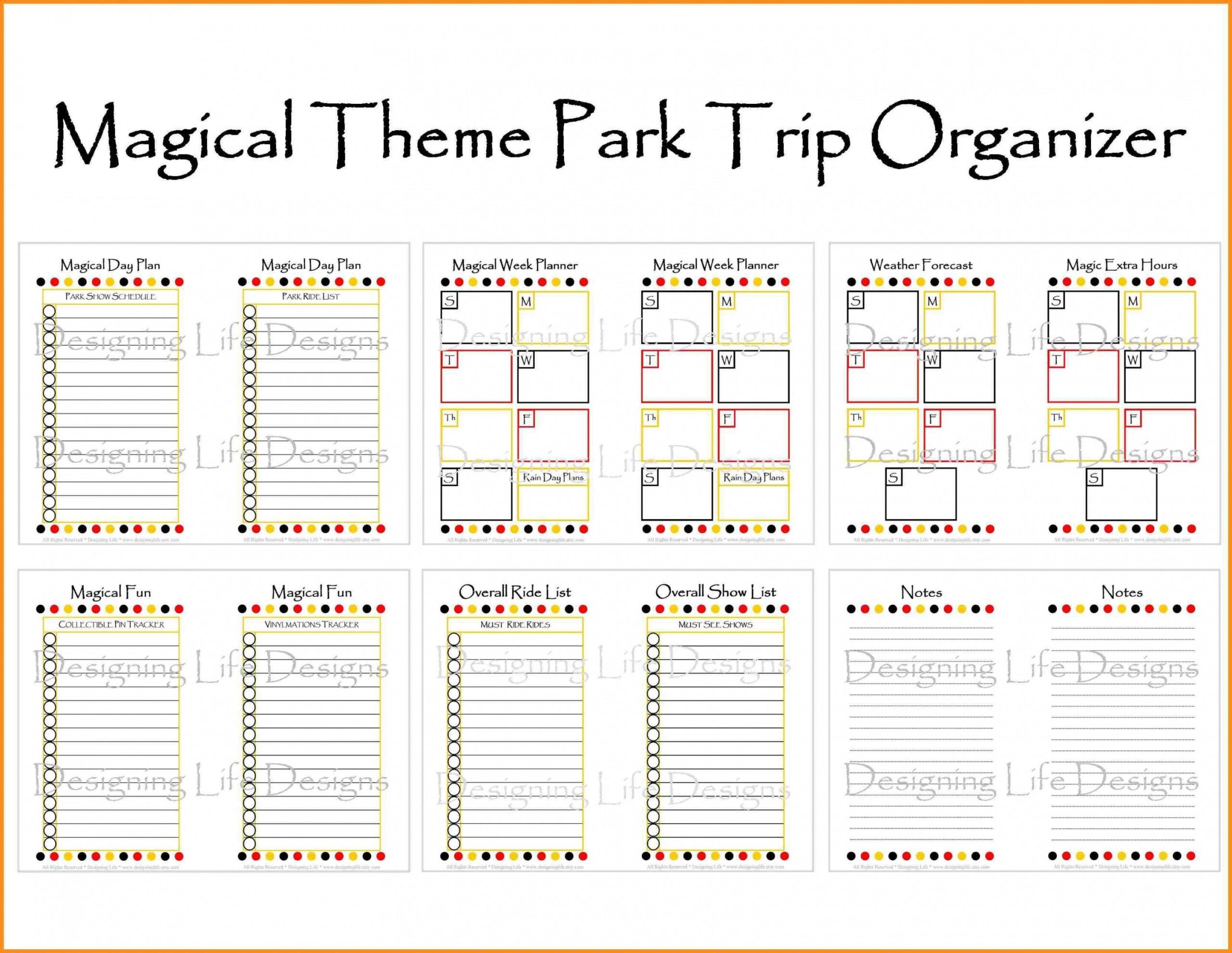 Free Printable Disneyland Itinerary Template   Calendar in Walt Disney World Itinerary Template