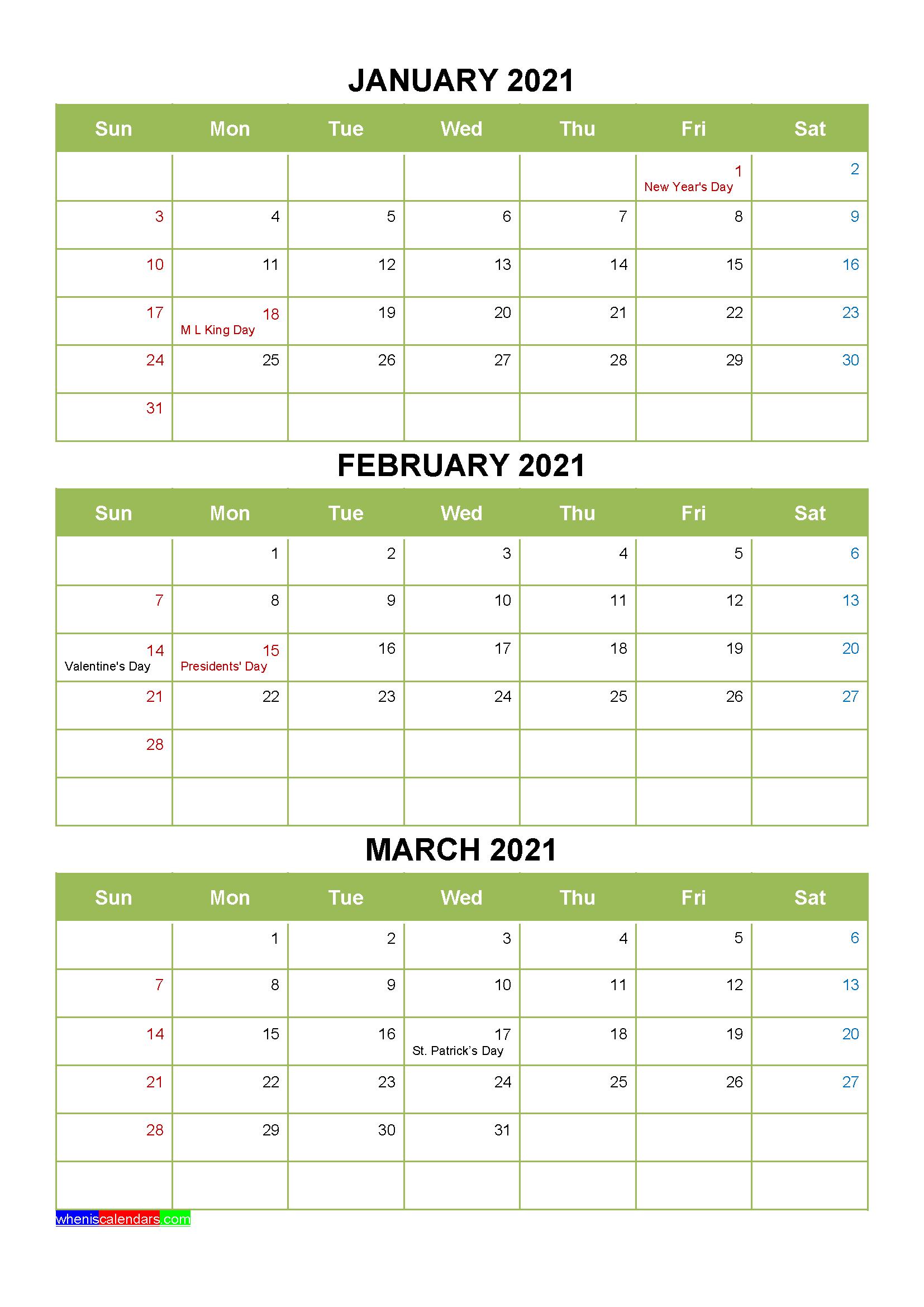 Free Printable January February March 2021 Calendar 3 regarding Printable 3 Months At A Time Calendar 2021