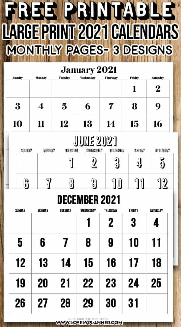 Free Printable Large Print 2021 Calendar  12 Month within Printable 3 Month Calendar 2021 Free