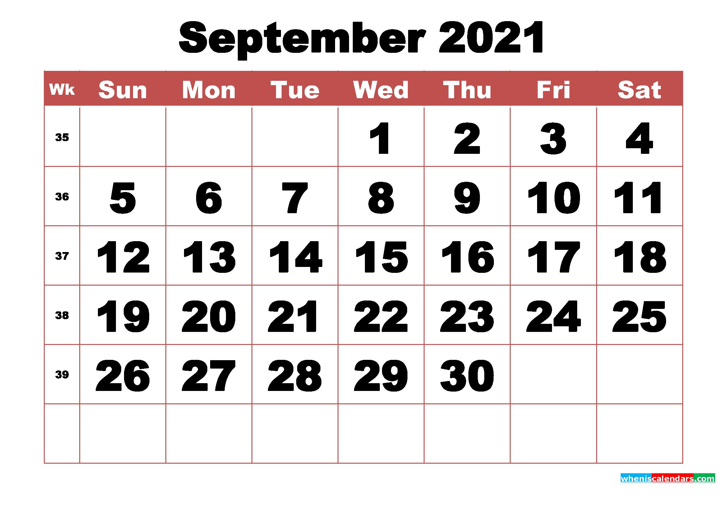 Free Printable September 2021 Calendar With Week Numbers with Printable 3 Months At A Time Calendar 2021