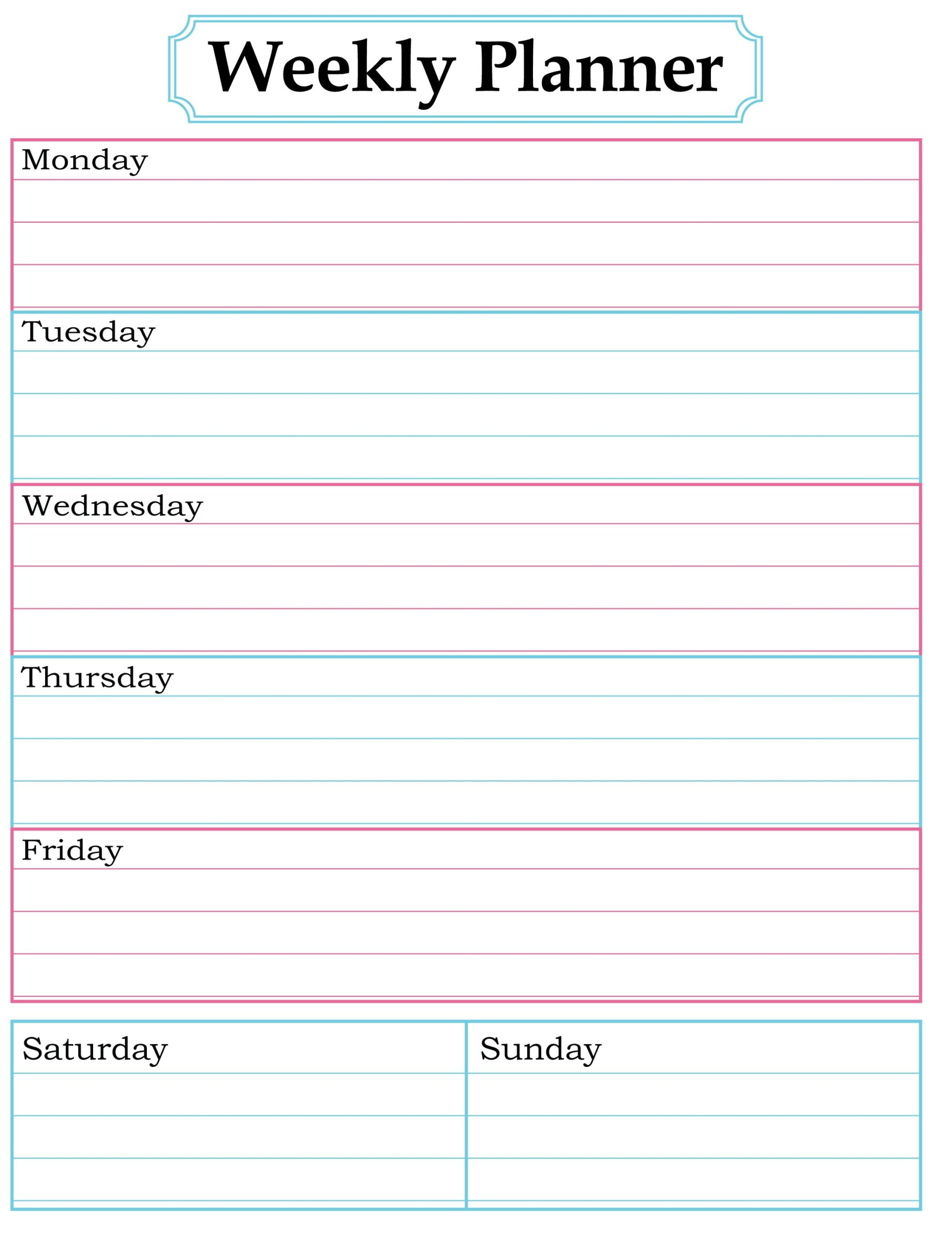 Free Weekly Schedule Tes For Word And Blank Printable inside 5 Day Calendar Template Word