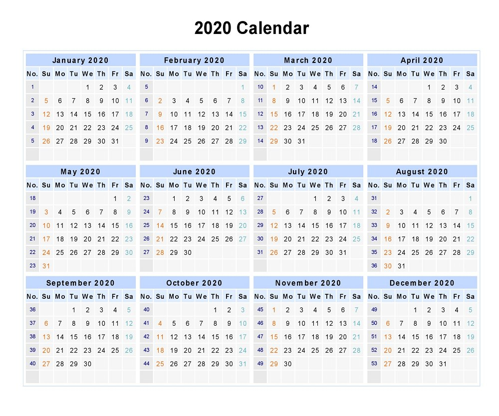 Free Yearly Printable Calendar 2020 With Holidays with Blank 12 Month Calendar