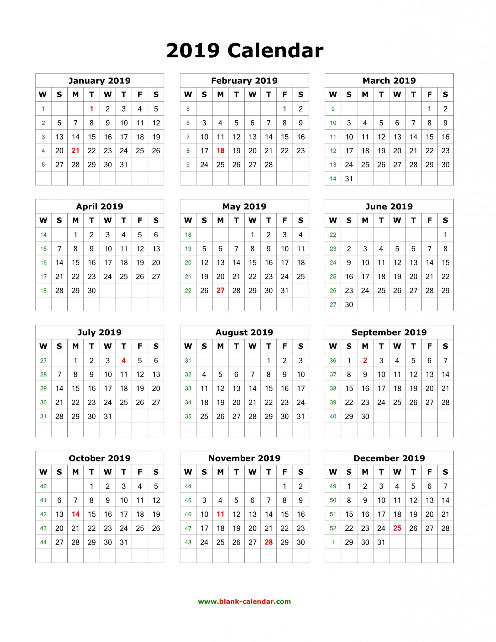 Get 12 Month One Page Calendar Template For 2019 | 12 for Calendar Template 12 Months One Page