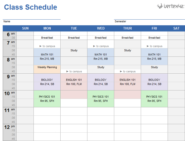 Get The Class Schedule For Google Sheets | Class Schedule regarding Weekly Class Schedule Template
