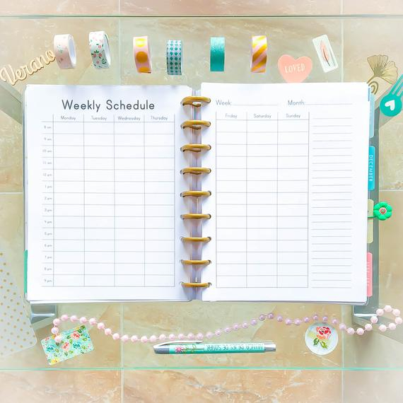 Happy Planner Hourly Weekly Schedule Printable Pdf Mambi intended for Hourly Planner Pdf