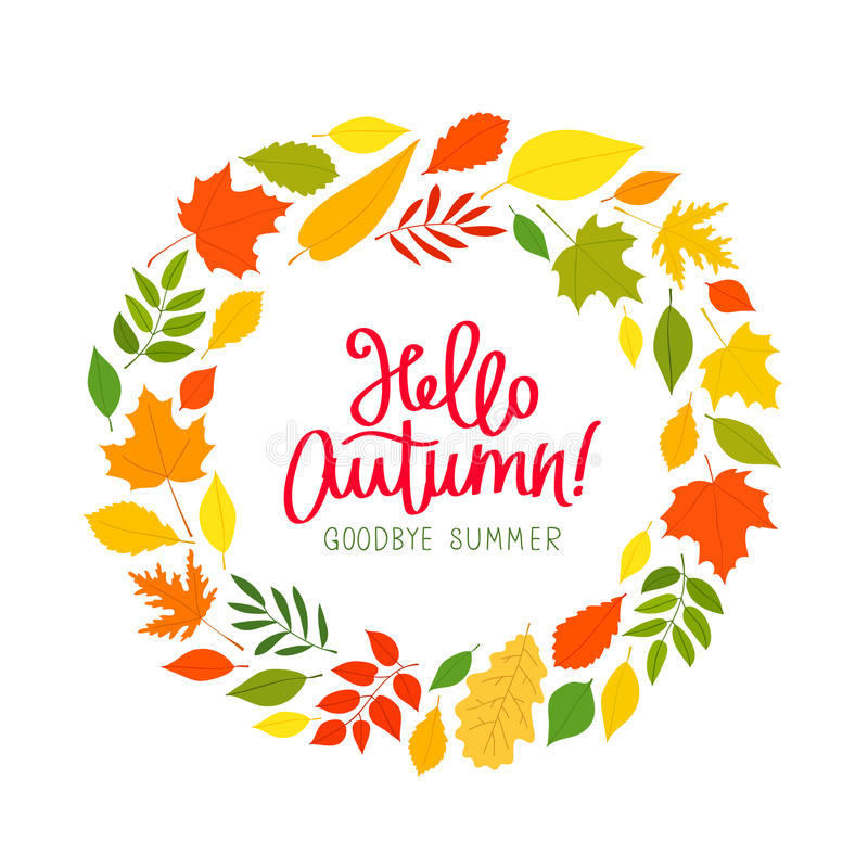 Hello October. The Trend Calligraphy. Stock Vector with Goodbye Summer Hello Fall Wallpaper
