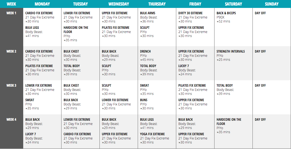 How To Create A Hybrid Program Using Beachbody Workouts in Piyo 21 Day Fix Hybrid Calendar