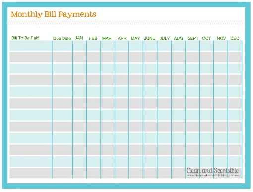 How To Organize Paperwork And Bills  Clean And Scentsible for Monthly Bill Chart Printable