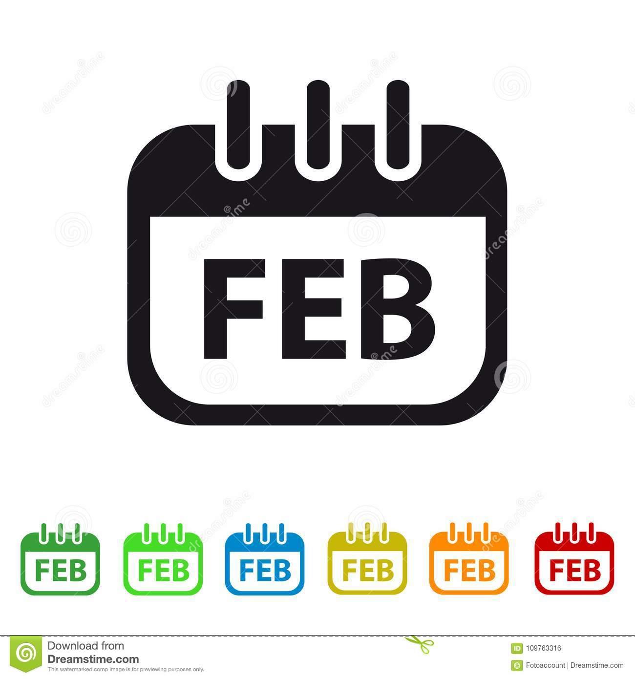 Icono Del Calendario De Febrero  Símbolo Colorido Del within Calendar Circle Icon