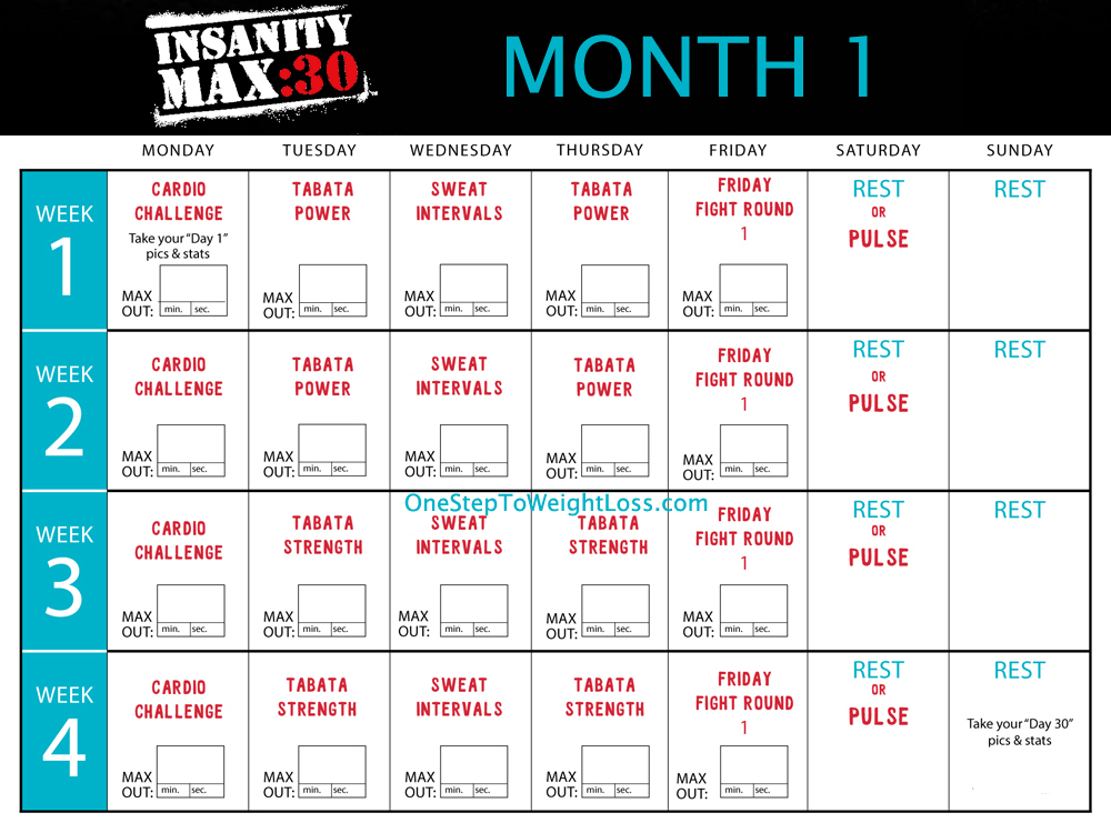 Iinsanity Max 30 Schedule | Template Printable for Insanity Max 30 Meal Plan