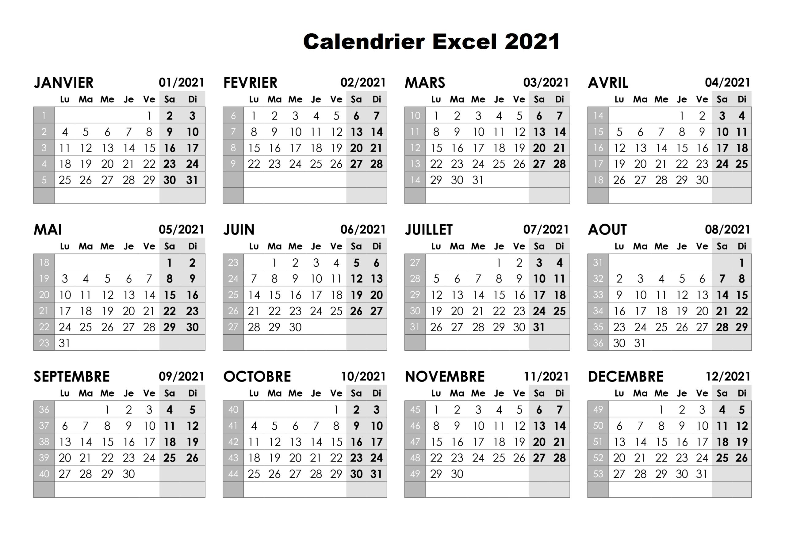 Imprimable Modifiable Calendrier 2021 Excel Modèle | The for Calendrier À Imprimer 2021
